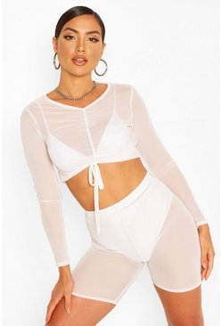 Ivory white Ruched top & Cycling Short Beach Co-ord