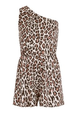 Brown Leopard Print One Shoulder Beach Playsuit