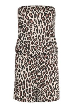 Brown Leopard Print Bandeau Beach Playsuit