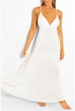 White Strappy Back Tierred Beach Maxi Dress