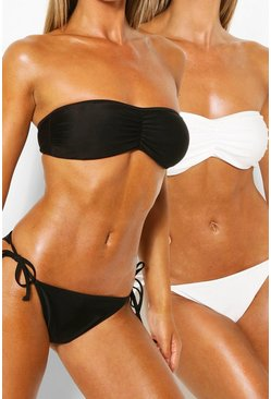 Black Tie Side 2 Pack Bikini Brief