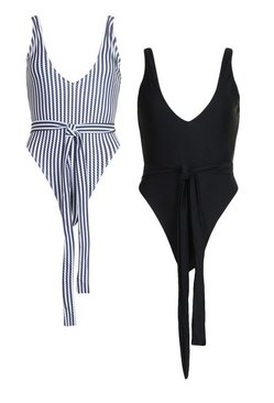 Black Tie Waist 2 Pack Swimsuit