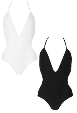 Black 2 Pack Deep Plunge Swimsuit