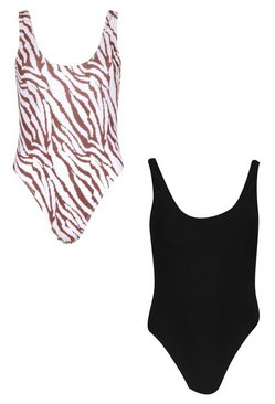 Black Tiger Print 2 Pack Swimsuit