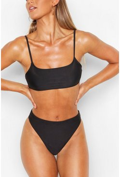 Black Square Neck Bikini Top