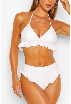 White Frill High Waist Bikini Briefs