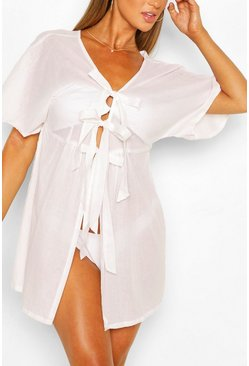 White Tie Detail Beach Kaftan