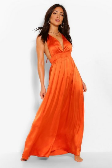 Orange Plunge Beach Maxi Dress