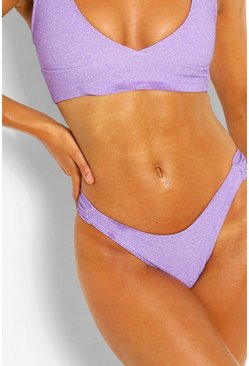 Lilac purple Mix & Match Glitter Ruched Side Bikini Brief