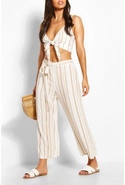 Ivory Tonal Stripe Tie Waist Linen Look Beach Pants