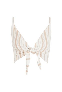 Ivory Tonal Stripe Tie Front Linen Look Beach Top