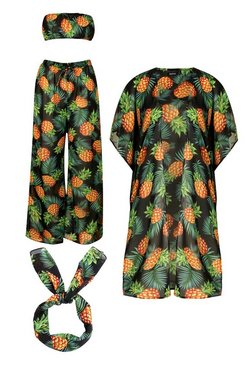 Green Pineapple Print Beach Set