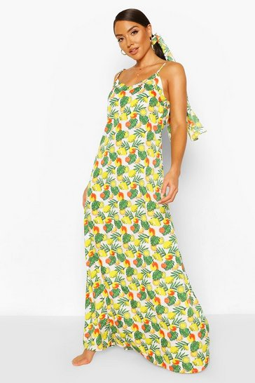 Yellow Printed Beach Maxi Dress & Headband Co-ord