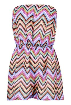 Purple Neon Aztec Beach Playsuit
