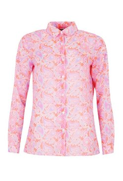 Coral Neon Paisley Oversized Beach Shirt