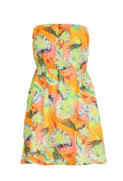 Orange Neon Leaf Mini Beach Dress