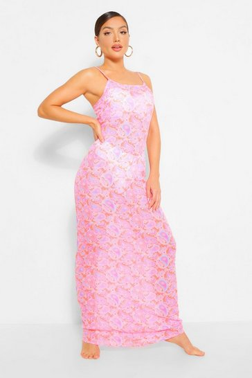 Coral pink Neon Paisley Strappy Maxi Beach Dress