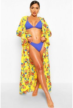 Yellow Floral Ruffle Detail Maxi Beach Kaftan