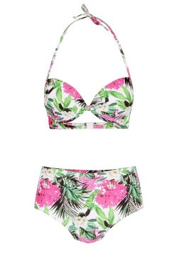 Pink Mix & Match Leaf Push Up Top