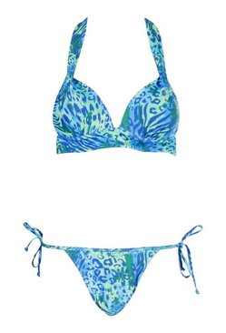 Blue Mix & Match Leopard Tie Side Brief
