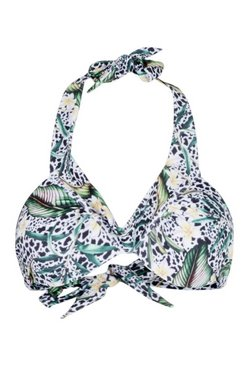 White Mix & Match Tropical Animal Plunge Bikini Top