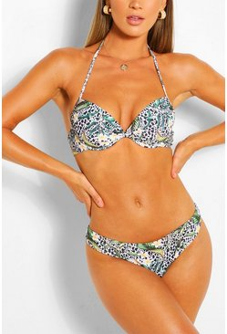 Bragas de biquini fijas con estampado animal tropical Mix & Match, Blanco