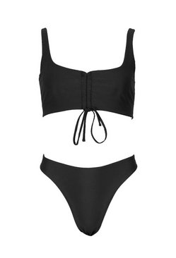 Black Ruched Crop High Waist Bikini