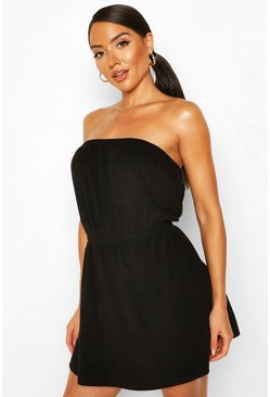 Black Towelling Off The Shoulder Beach Dress