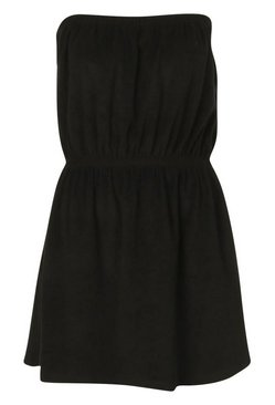 Black Towelling Bardot Beach Dress