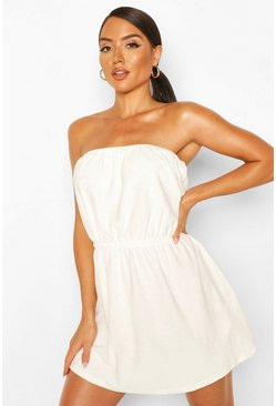 White Towelling Bardot Beach Dress