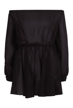 Black Off The Shoulder Chiffon Playsuit