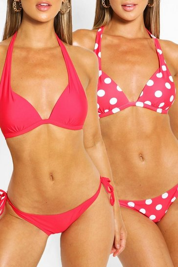 Red 2 Pack Moulded Push Up Plunge Bikini