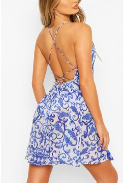 Blue Chain Print Halterneck Mini Beach Dress