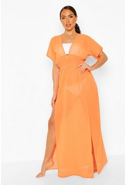 Orange Plunge Neckline Maxi Beach Kaftan