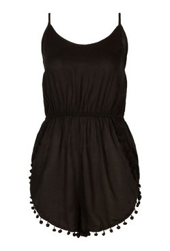 Black Pom Pom Beach Playsuit