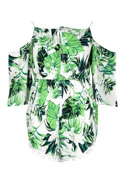 Green Tropical Pom Pom Beach Playsuit