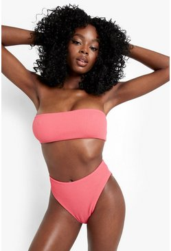 Pink Mix and Match Crinkle High Waist Brief