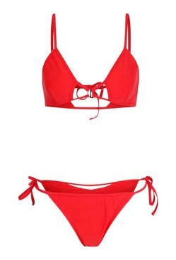 Red Cut Out Triangle Tie Side Bikini