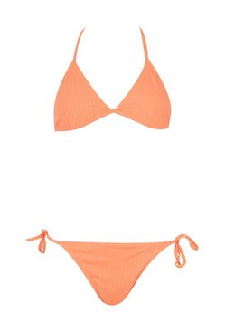 Orange Ribbed Tie Triangle Bikini