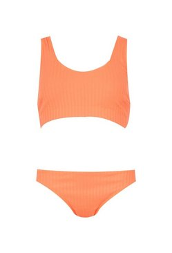 Orange Ribbed Crop Bikini
