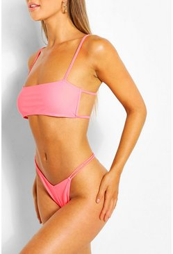 Coral pink Square Neck Back Detail Strappy Crop Bikini