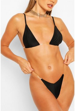 Black Micro Triangle Clear Strap Bikini