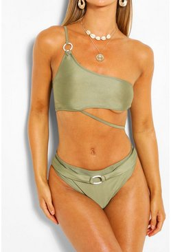 Khaki Asymmetric Ring High Waist Bikini