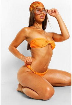 Orange Knot Side Bandeau Bikini