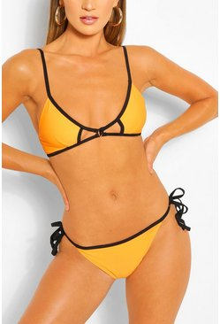 Orange Cut Out Triangle Bikini