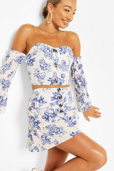 Blue Floral Button Beach Top