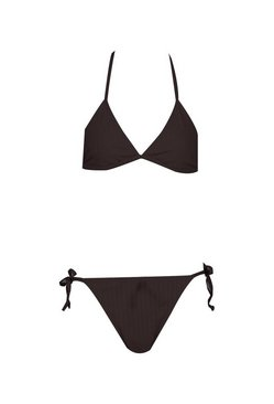Black Ribbed Tie Triangle Bikini