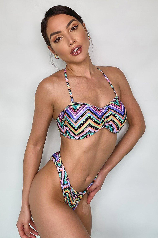 Swimwear Neon Aztec Bandeau Bikini