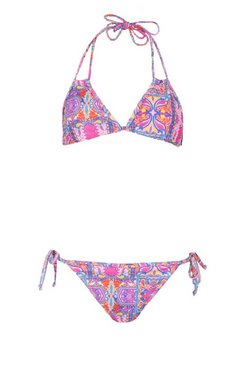 Pink Tile Print Triangle Tie Side Bikini