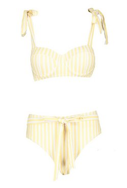 Lemon Stripe Tie Shoulder High Waist Bikini